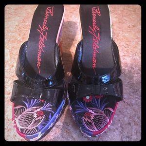 Designer Beverly Feldman embroidered wedge heels